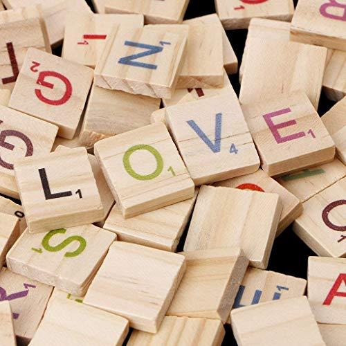 100 Stück Buchstaben fliesen zum Spielen | Bunt steine Ersatz Fliesen aus Holz | mit Zahlenwerten | ideal für Spieleabende mit Freunden und in der Familie |