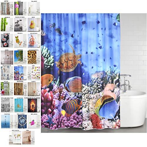 Sanilo Duschvorhang, viele schöne Duschvorhänge zur Auswahl, hochwertige Qualität, inkl. 12 Ringe, wasserdicht, Anti-Schimmel-Effekt (Ocean, 180 x 180 cm)