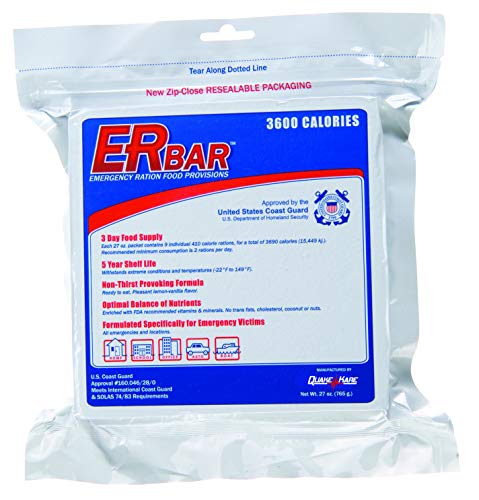 ER Emergency Ration 3600 Calorie Food Bar for Survival Kits and Disaster Preparedness, Single Bar, 1B, White