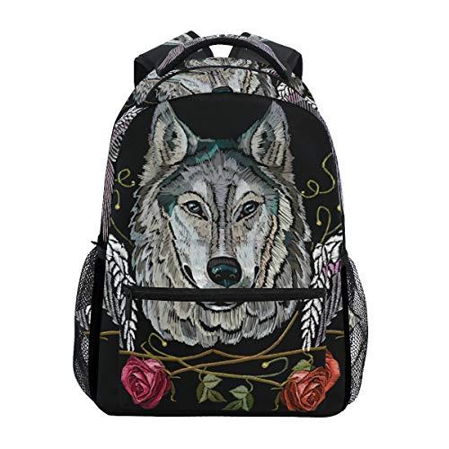 Ahomy - Zaino da scuola con ali di lupo e rose, per ragazze, ragazzi e donne, ideale per viaggi