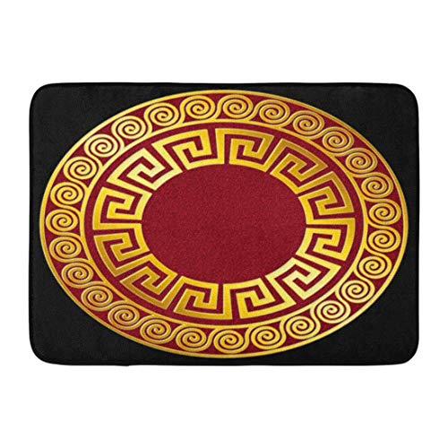 Fußmatten Bad Teppiche Outdoor/Indoor Fußmatte Griechische Traditionelle Vintage Goldene Runde Griechische Mäander Muster auf Rot und für Fliesen Platten Antike Badezimmer Dekor Teppich Badematte