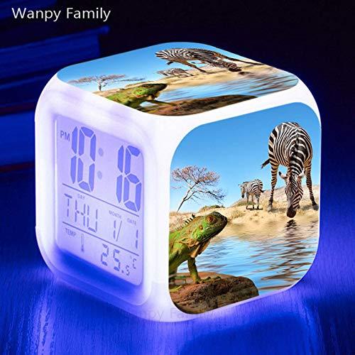 Zhuimin dieren van Zebra wekker kinderkamer, verlichte wekker met LED-verlichting, groot display, elektronische digitale klok