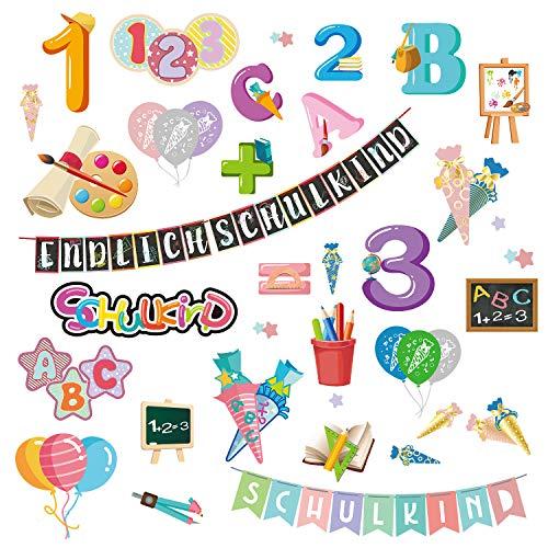 Oblique Unique® Schuleinführung Aufkleber Set ABC Zahlen Luftballons Stifte Tafel Endlich Schulkind Sticker Einschulung Deko Kinder Lernen Bunt