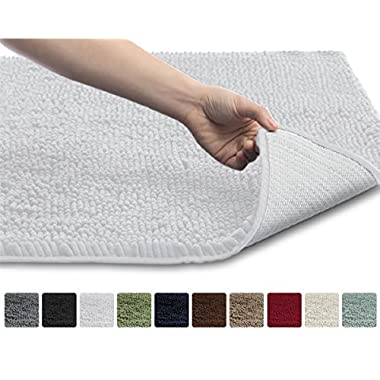 Gorilla Grip The Original Shaggy Chenille Bathroom Rug Mat, 3 Sizes and 10 Colors, Extra Soft and Absorbent, Machine-Washable, Perfect for Bath, Tub, and Shower (White, 30  x 20 )