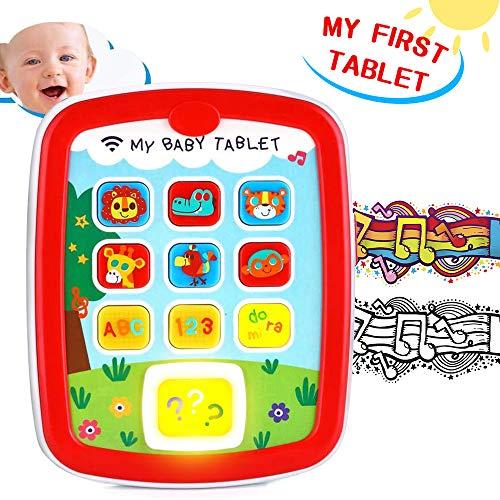 VATOS Pädagogisches Baby Tablet Spielzeug Musik Pad Baby Frühes Lernen Spielzeug für Kleinkinder 6 - 24 Monate mit Musik & Licht Reisespielzeug ABC Spielzeug Tiere Alphabet Zahlen Farben Spielzeug