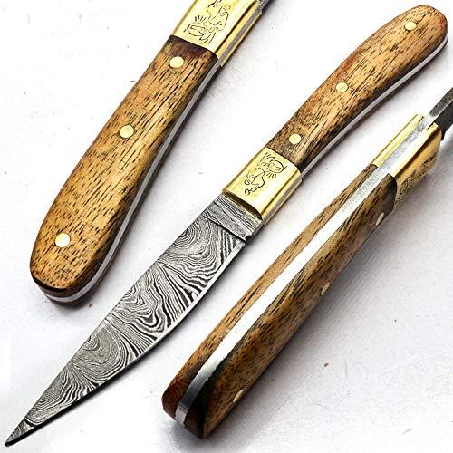 PAL 2000 Damascus Knives - Handmade Damascus Steel Knife - Guaranteed Quality Damascus Steel Mini Chef Knife - Mini Kitchen Knife With Sheath 9725