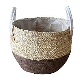 Seagrass Panier Straw Flower Pot Ventre Panier Pique-nique Cache-pot En Rotin Tote Paniers D'épicerie De Stockage Avec…