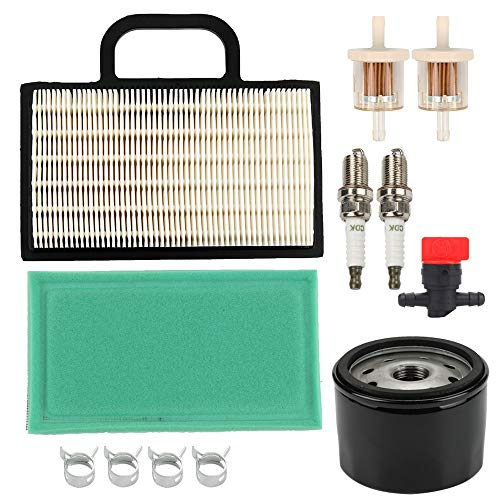 Wellsking 698754 273638 Air Filter with Oil Fuel Filter for BS 499486S 695667 273638S Intek Extended Life Series V-Twin 18-26 HP Lawn Mower Tractor