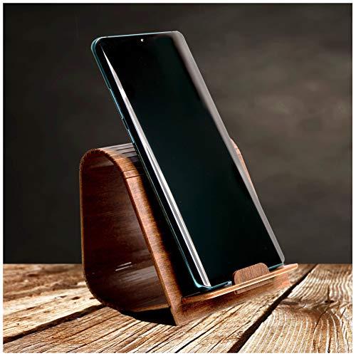 NAMASTI Smartphone Ständer, Halterung/Halter für Handy aus Birkenholz iPhone Samsung Huawei HTC LG Sony Apple Holz braun (Nussbraun)
