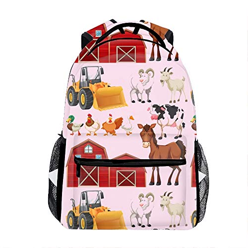 Farm Animals And Barns Kids Backpack School Book Bag for Toddler Boys Girls