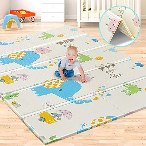 Aitere Baby Spielmatte, 200 x 180 x 1,5 cm, Faltbare Baby Bodenmatte, umweltfreudliches XPE Material, beide Seiten bespielbar, wasserdicht und ungiftig, BPA Frei, Cartoon Elefant / Giraffe