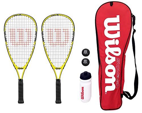 2 Wilson Ripper Junior Squash-Schläger-Set mit Tasche, Wasserflasche und & Tennisbälle 145