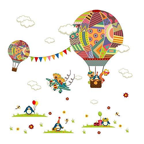 Terilizi Milieuvriendelijke Cartoon Hot Air Balloon Muurstickers Kwekerij Kids Kamer Slaapkamer Giraffe Pinguïn DIY Muurstickers Art Home Decor