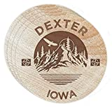 Dexter Iowa 4 Pack Engraved Wooden Coaster Camp Outdoors Design