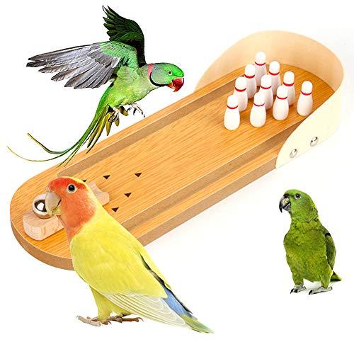 Oce180anYLV Lustiges Bowling-Spielzeug für Vögel und Papageien aus Holz