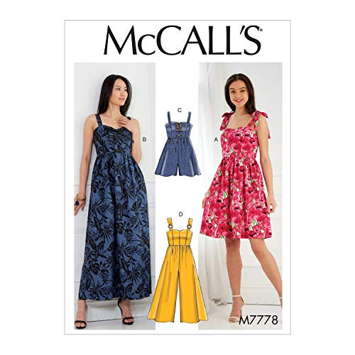 McCall's Patterns M7778A5 Misses' Dresses, Romper And Jumpsuit Schnittmuster, Papier, mehrfarbig, A5 (6-8-10-12-14)