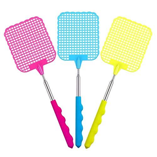 JZZJ Ausziehbare Kunststoff-Hand Fliegenklatsche Fly verhindern Pest Dauerhaft Mosquito Tool Edelstahl, Rose Rot, Gelb, Blau 3 Packung (Mehrfarbig A)