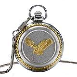NOBRAND Reloj de bolsillo, diseño de águila dorada 3D, cuarzo, reloj de bolsillo con cadena de hueso de serpiente, reloj de pulsera de plata fría para hombres y mujeres