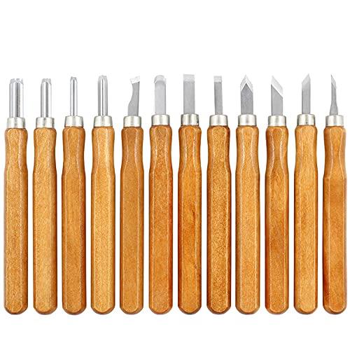 Juego de 12 cinceles para madera SK2 acero aleado Juego de cinceles de madera para carpintería cinceles para tallar madera para profesionales o aficionados al trabajo en madera