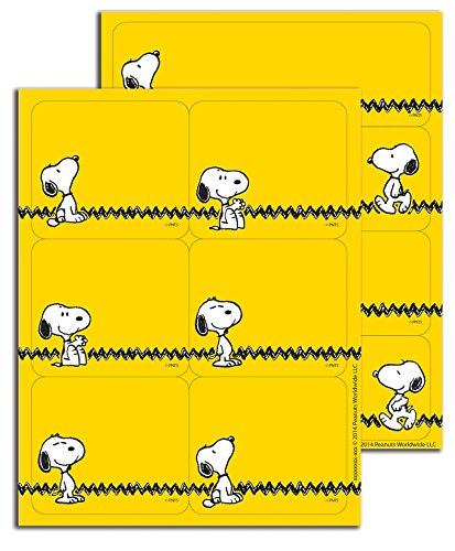 Eureka Yellow Snoopy Sticker Name Tags and Labels, 56pc