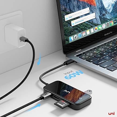 uni USBCHub7in1, USB CHDMIHubmitverbesserterAbschirmung,Unterstützungvon4KHDMI,PD60W, USB 3.0,KompatibelfürMacBook, iPadPro2020/2018, GalaxyS20, undmehr - SpiegelSchwarz