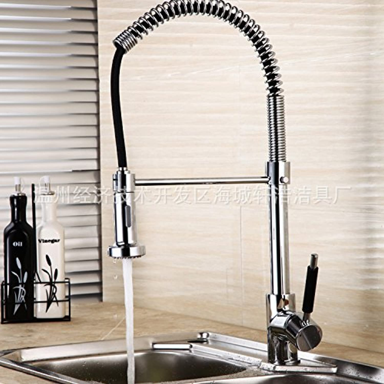 redOOY Taps Faucet Kitchen Kitchen Faucet Hot And Cold Pull Faucet Kitchen Faucet Double Sink redating Single Handle Spring Wire Drawing