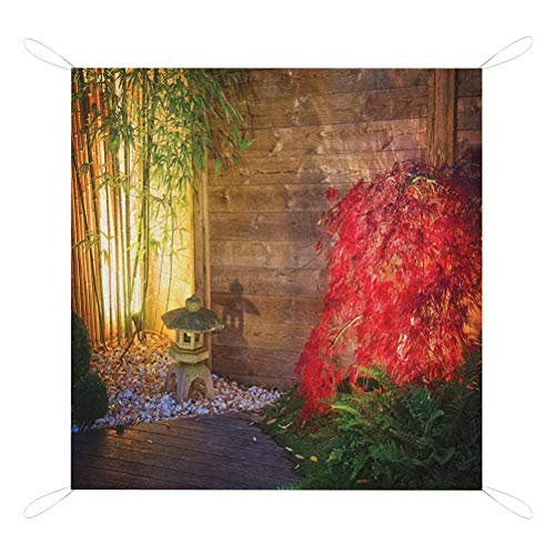 Lowest Prices! Nomorer Garden Picnic Blankets, Japanese Stone Lantern and Red Maple Tree in an Autum...