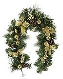 Guirnalda de Navidad decorada con bolas para el árbol de Navidad, piñas y copos de nieve, lazo, guirnalda, guirnalda, decoración artificial, chimenea, escalera, abeto, pino, guirnalda de Navidad