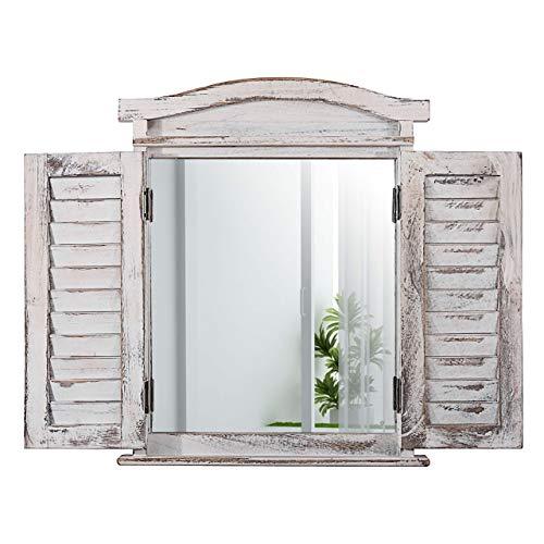 Mendler Wandspiegel Spiegelfenster mit Fensterläden 53x42x5cm - weiß Shabby