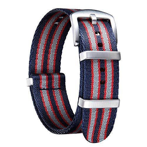 Bracelet de Montre en Nylon NATO Militaire Bandes Remplacements Elastique Qualité Supérieure avec Boucle en Acier Inoxydable Hommes Femmes 20 Couleurs,18mm 20mm 22mm 24mm (Version de Mise à Niveau)