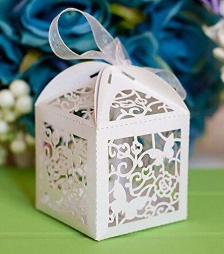 Musuntas 50Tlg.Schmetterling Vogelkäfig-Entwurf Hochzeit Taufe Gastgeschenk Geschenkbox Kartonage...