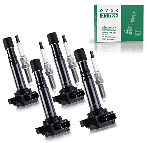 High Energy Ignition Coil 30520-P8E-A00 and Spark Plug Pack of 4, Double Iridium Spark Plug ZFR611, ZFR6FGP Compatible With Camry, RAV4, Highlander, Solara, Tc, xB, HS250h, 2.0L and 2.4L Models.