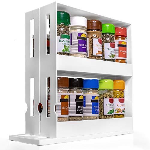 LYVANAS Gewürzregal stehend weiß - praktisches Gewuerzregal in schmal und ausziehbar - platzsparender Gewürzhalter für Ordnung im Küchenschrank (Version 2.0) (Weiß)