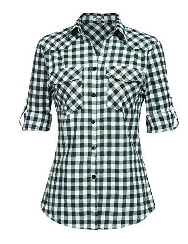 Unibelle damesblouse geruit hemd blouse chic met knoop flanel lange mouwen retro-roussee stijl boyfriend casual - - X-Large