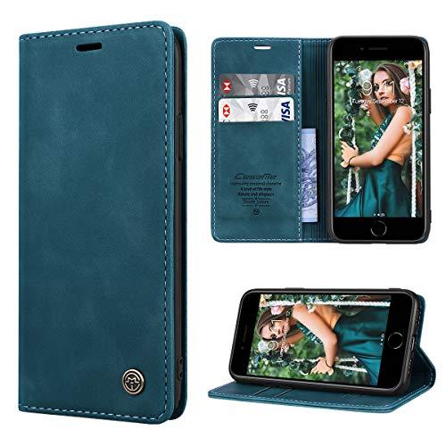 RuiPower pour Coque iPhone 7/8 Cuir Etui iPhone Se 2020 Premium PU Portefeuille [Magnétique] [Porte Cartes] [Stand Fonction] Protection Coque Rabat iPhone Se 2020/ iPhone 7/ iPhone 8 - Bleu-Vert