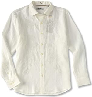 Tommy Bahama Long Sleeve Front Embroidered Sunset Vows Linen Camp Shirt (Color: White, Size XL)