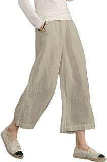 Women's Elastic Waist Causal Loose Trousers 100 Linen Cropped Wide Leg Pants US 2-20W