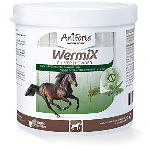 AniForte WermiX Pulver für Pferde und Ponys 250g - Naturprodukt vor, während und nach Wurmbefall mit Saponine, Bitterstoffe, Gerbstoffe, Wermut, Naturkräuter harmonisieren Magen & Darm