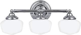 Sea Gull Lighting 44438-05 Academy Three-Light Bath or Wall Light Fixture with Satin White Glass, Chrome Finish (Renewed)