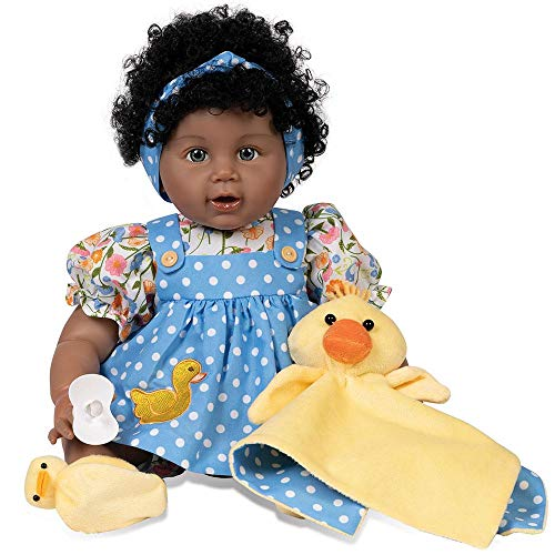 Paradise Galleries Realistic African American Toddler Girl Doll - Lucky Ducky, 20 inches in SoftTouch Vinyl, 6-Piece Doll Gift Set
