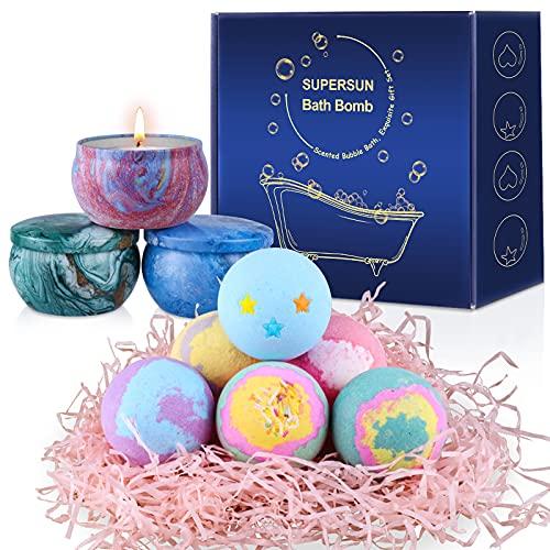 SUPERSUN 6 Bombas de Baño y 3 Velas Aromáticas, Regalos de Baño de Burbujas para Mujeres, Niñas, Regalos para Cumpleaños, Aniversario, Día de la Madre, Día de San Valentín
