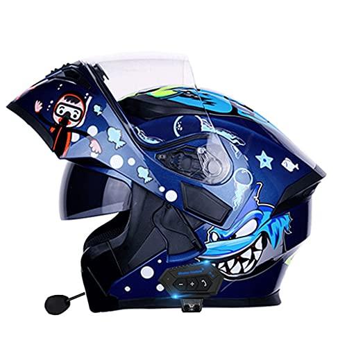 NS Casco Moto Bluetooth 2 En 1 Integral Media Cara Flip Modular Motocicleta Bluetooth Motocross Casco De Vehículo De Motor Calle Ciclomotor Viseras Dobles (Color : M, Size : 2XL)