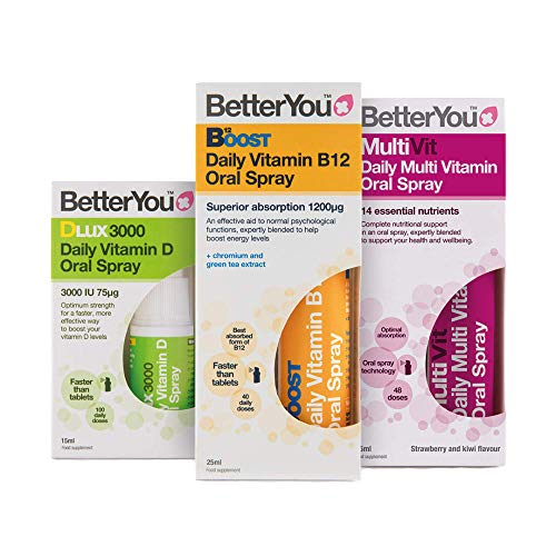 BetterYou Complete Wellness Pack: Vitamin B12 + Vitamin DLux3000 + MultiVit Oral Sprays (3 Pack)