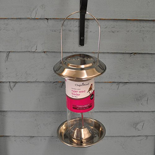 Chapelwood Stainless Steel Nyjer Bird Seed Feeder, 360g, Silver, 45x40x35 cm