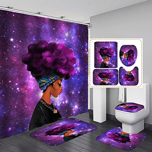 Fashion&Man 4PCS/Set Cool Girl Shower Curtain Waterproof Cloth Fabric Shower Curtain, Black African American Woman Afro Lady Blowing Bubble Chewing Gum Bathroom Rugs Toilet Lid Cover, 72'x72', Purple