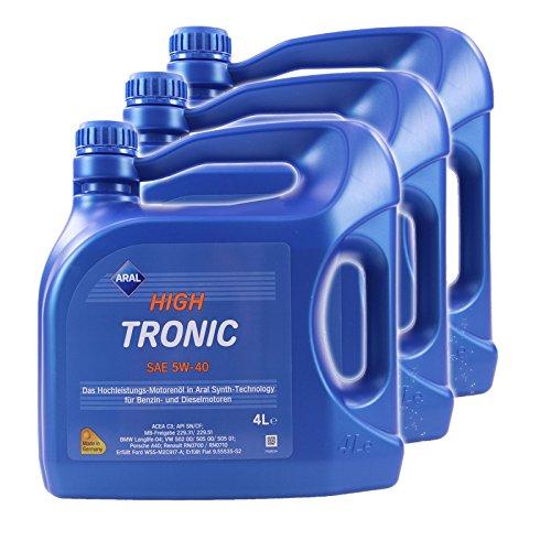 3x 4 L = 12 Liter ARAL HighTronic 5W-40 Motoröl