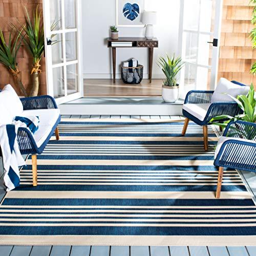 """Safavieh Courtyard Collection CY6062-268 Indoor/ Outdoor Area Rug, 5' 3"""" x 7' 7"""", Navy/Beige"""