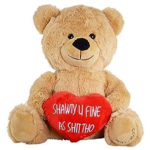 Hollabears Shawty U Fine As Shit Tho Teddy Bear - Funny and Cute Valentine's Day Gift for Girlfriend, Boyfriend or Best Friends