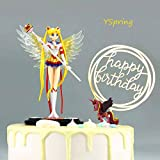 YSpring Exquisite Anime Figure Sailor Moon Tsukino Usagi Princess PVC Action Figure Collectible Model Toy Cake Decorative Ornament(Style D)