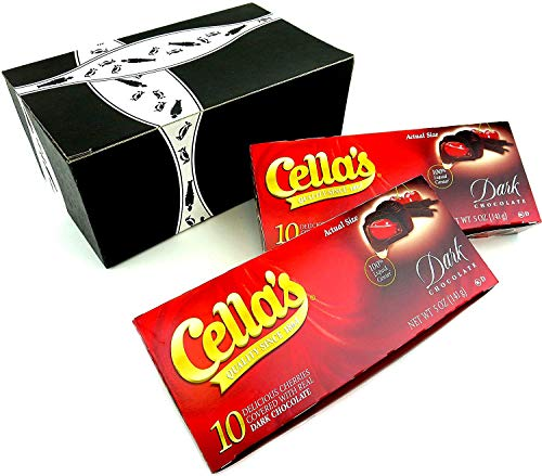 Cella's Dark Chocolate Covered Cherries, 5 oz Packages in a BlackTie Box (Pack of 2)
